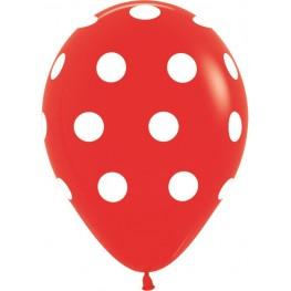 Шар (12''/30 см) Красный белые точки, пастель, 5 ст
