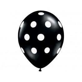 Шар (12''/30 см) Черный белые точки, пастель, 5 ст