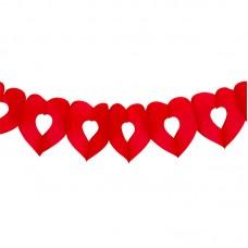 Гирлянда сердце красное 3м