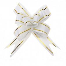 Бант Бабочка с золотой полосой Белый