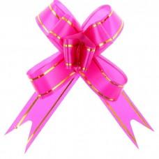 Бант Бабочка с золотой полосой Розовый