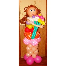 """Фигура из шаров """"Девушка с букетом"""""""