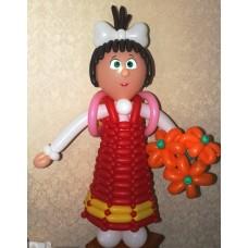 """Фигура из шаров """"Девочка с букетом"""""""