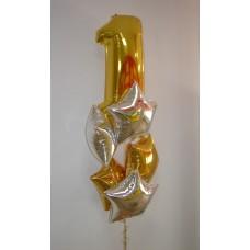 Фонтан из шаров с цифрой 1