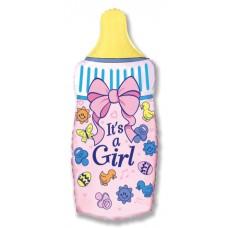Шар (31''/79 см) Фигура, Бутылочка для девочки, Розовый