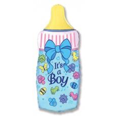 Шар (31''/79 см) Фигура, Бутылочка для мальчика, Голубой