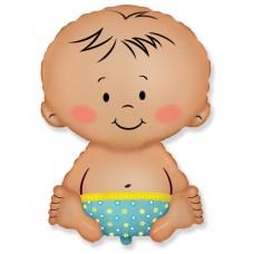 Шар (32''/81 см) Фигура, Малыш мальчик, Голубой