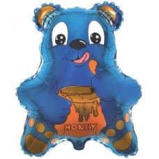 Шар (22''/56 см) Фигура, Медведь с мёдом, Синий