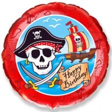 Шар (18''/46 см) Круг, С Днем рождения (пират) , Красный