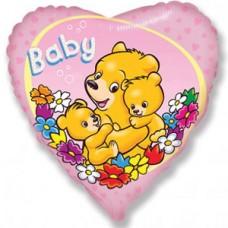 Шар (18''/46 см) Сердце, Новорожденный малыш, Розовый
