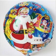 Шар (18''/46 см) Круг, Дед Мороз с игрушками, синий
