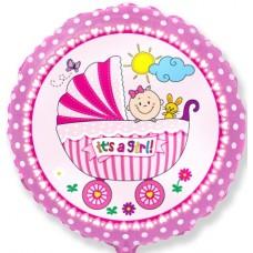 Шар (18''/46 см) Круг, Детская коляска для девочки, Розовый