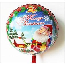 Шар (18''/46 см) Круг, Дед Мороз с фонариком, красный