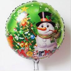 Шар (18''/46 см) Круг, Новогодний снеговик, зеленый