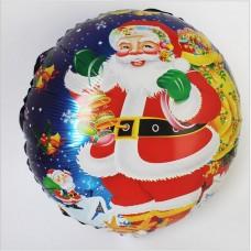 Шар (18''/46 см) Круг, Дед Мороз с подарками, синий