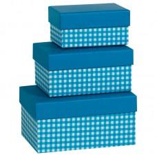 Коробка подарочная, Клетка, синяя