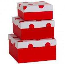 Коробка подарочная, В точку, красная