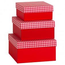 Коробка подарочная, В клетку, красная