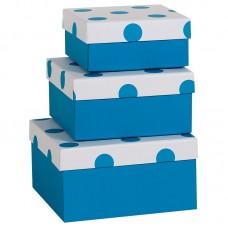 Коробка подарочная, В точку, синяя