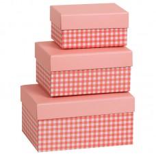 Коробка подарочная, Клетка, розовая