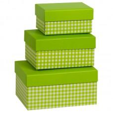 Коробка подарочная, Клетка, зеленая