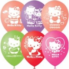 """Шар (12''/30 см) """" Кошечка Hello Kitty """"  с 2 ст.рис. (шелк.)"""