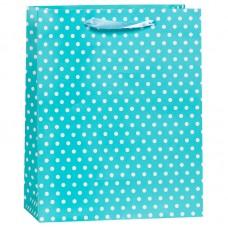 Пакет подарочный В горошек, Голубой, 12*15*6 см