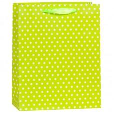 Пакет подарочный В горошек, Желтый, 12*15*6 см