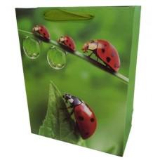 Пакет подарочный Божьи коровки (роса), Зеленый, 18*23*10 см