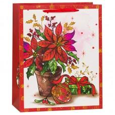 Пакет подарочный Ваза с цветами, Красный, 18*23*10 см