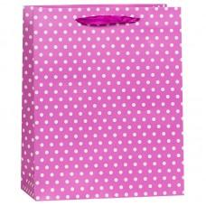 Пакет подарочный В горошек, Сиреневый, 12*15*6 см