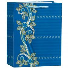 Пакет подарочный Бусинки, Синий, 26*32*12 см