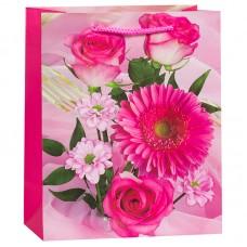 Пакет подарочный Букет (розы, герберы), Розовый, 27*33*14 см