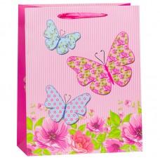 Пакет подарочный Бабочки на лугу, Розовый, 26*32*12 см