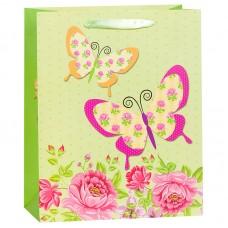 Пакет подарочный Бабочки на лугу, Зеленый, 26*32*12 см