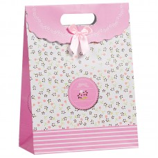 Пакет подарочный В цветочек, Розовый, 19*27*9 см