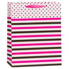Пакет подарочный В горошек, Розовый, 12*15*6 см