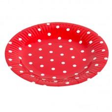 "Тарелка ""Красные точки"" 17см, 6шт"