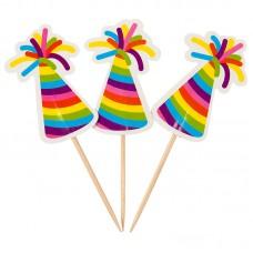 Палочки для канапе Цветные колпачки 20шт