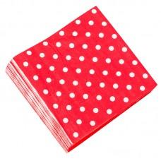 """Салфетки """"Красные точки""""32*32см, 20шт"""