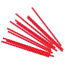 Трубочки для коктейлей красные в белую точку 12шт