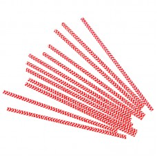 Трубочки для коктейлей красные зигзаги 12шт