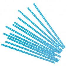 Трубочки для коктейлей голубые в белую точку 12шт