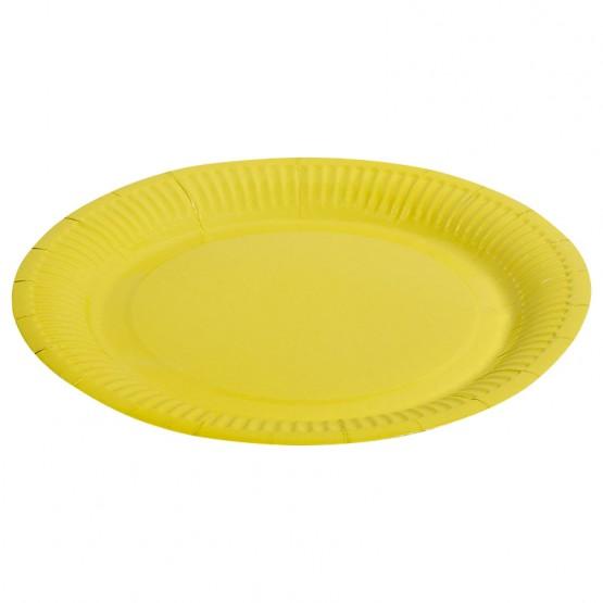 Тарелка однотонная, желтый, 23 см, 6шт