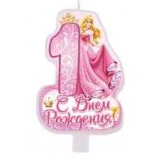 """Свеча в торт """"С днем рождения"""", цифра 1, Принцессы"""
