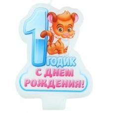 "Свеча в торт ""С днем рождения"" 1 собачка"
