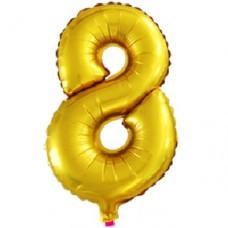 Шар  (16''/41 см) Цифра, 8, Золото
