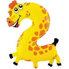 Шар (16''/41 см) Цифра, 2 Жираф